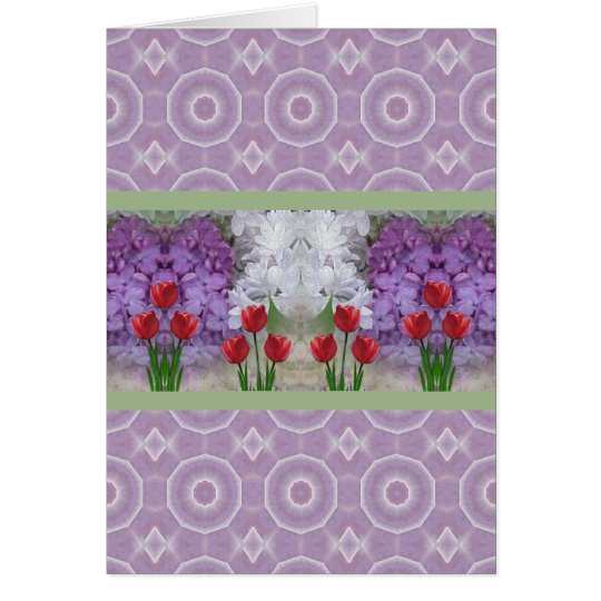 Lilacs and Tulips 3 Card