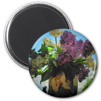 Lilacs and Vase Sisters Picnic 2 Inch Round Magnet