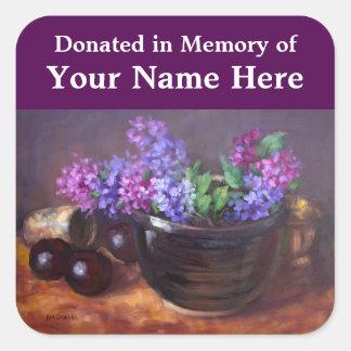 Lilacs bookplate square sticker