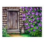 Lilacs by the Barn Original Painting Art Postcard