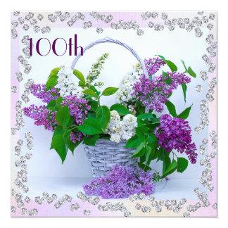 Lilacs & Diamonds 100th Birthday Card
