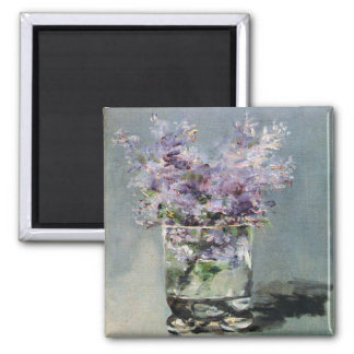 Lilacs in a Glass by Edouard Manet 2 Inch Square Magnet