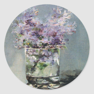 Lilacs in a Glass by Edouard Manet Classic Round Sticker