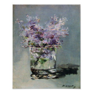 Lilacs in a Glass by Edouard Manet Poster