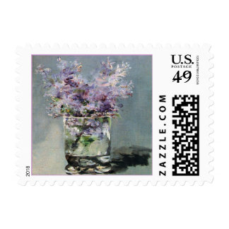 Lilacs in a Glass by Edouard Manet Stamp