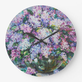 Lilacs in a vase large clock