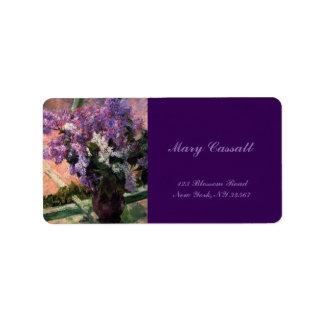 Lilacs in a Window by Mary Cassatt Label