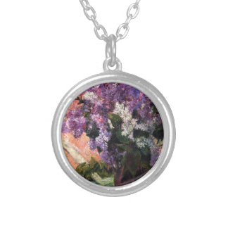 Lilacs in a Window by Mary Cassatt Silver Plated Necklace