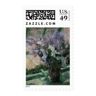 Lilacs in a Window by Mary Cassatt, Vintage Art Postage