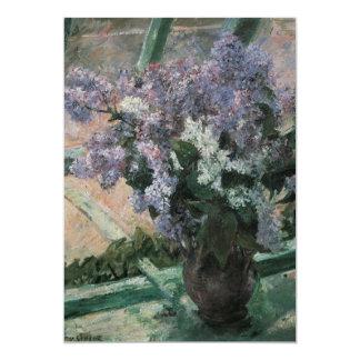 Lilacs in a Window, Cassatt, Vintage Impressionism 5x7 Paper Invitation Card