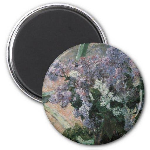 Lilacs in a Window, Cassatt, Vintage Impressionism Refrigerator Magnet