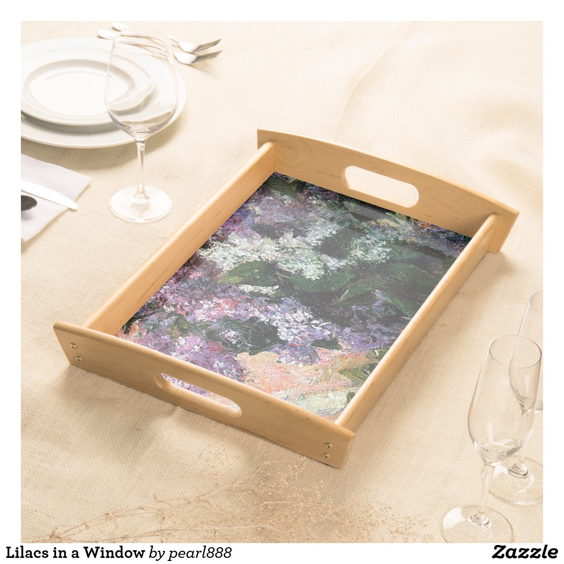 Lilacs in a Window Serving Tray