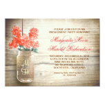 lilacs in mason jar rustic engagement party invite