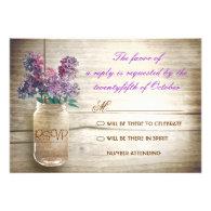 lilacs mason jar vintage wedding rsvps invitation