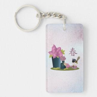 "Lilacs perfume and a bird ""Spring"" Keychain"