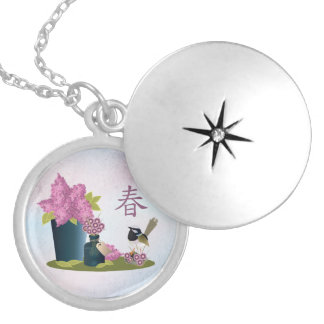 "Lilacs perfume and a bird ""Spring"" Round Locket Necklace"