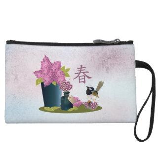 "Lilacs perfume and a bird ""Spring"" Wristlet"