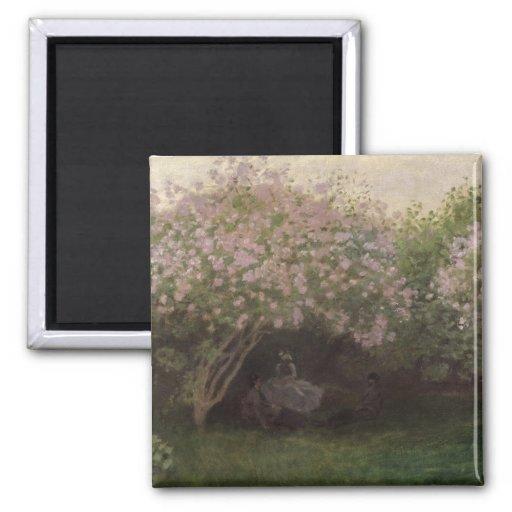 Lilas de Claude Monet el  , tiempo gris, 1872 Imán Cuadrado