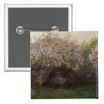 Lilas de Claude Monet el  , tiempo gris, 1872 Pin Cuadrado