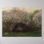 Lilas de Claude Monet el  , tiempo gris, 1872 Póster