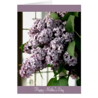 Lilas del día de madre tarjeta de felicitación