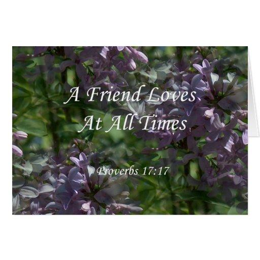 lilas del ~ proverbs17-17 tarjeta de felicitación