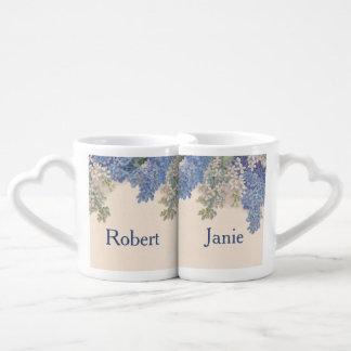 Lilas del vintage taza amorosa