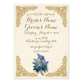 Lilas del vintage que casan la invitación invitación 13,9 x 19,0 cm
