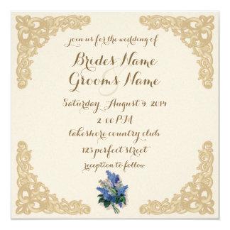 Lilas del vintage que casan la invitación invitación 13,3 cm x 13,3cm