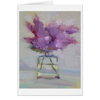 Lilas en el florero de cristal tarjeta