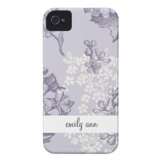 Lilas impresas vintage en púrpura y blanco Case-Mate iPhone 4 funda