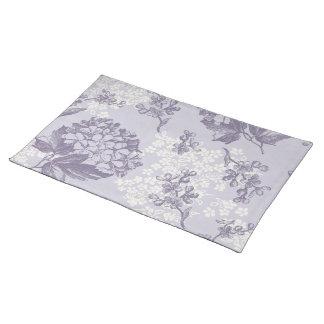 Lilas impresas vintage en púrpura y blanco manteles individuales