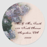 Lilas impresionistas - pegatinas del sello del pegatinas redondas