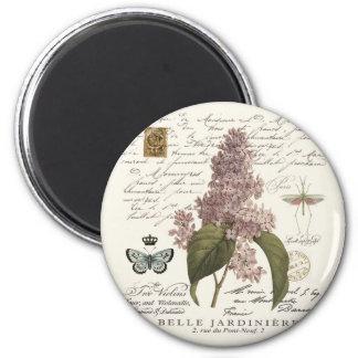 lilas modernas del francés del vintage imán redondo 5 cm