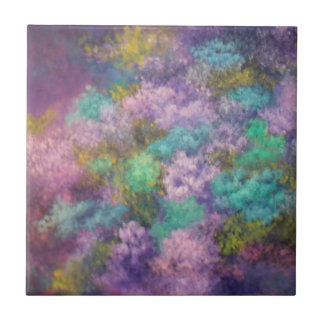 Lilas, pintura al óleo azulejo cuadrado pequeño