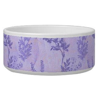 Lilas púrpuras bonitas tazones para perro