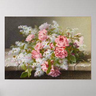 Lilas rosadas del rosa del vintage y blancas póster