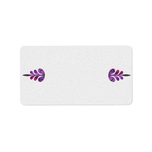 Lilas rosadas y púrpuras etiqueta de dirección