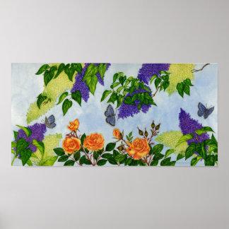 Lilas, rosas y poster de las mariposas