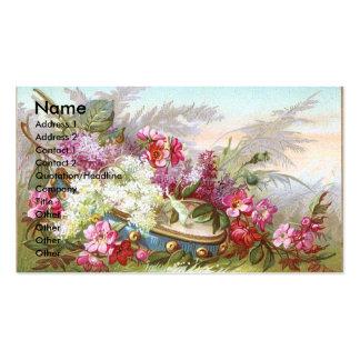Lilas y tarjeta del comercio del Victorian de la p Plantillas De Tarjetas De Visita