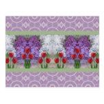 Lilas y tulipanes 3 postal