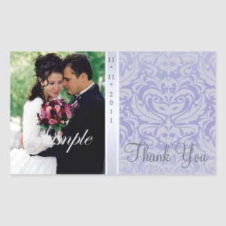 Liliac Damask Thank You Photo Wedding Sticker