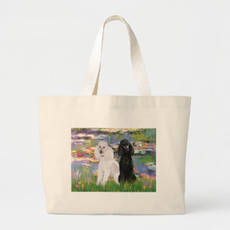 Lilies2-Standard Poodles (black & white) Canvas Bags