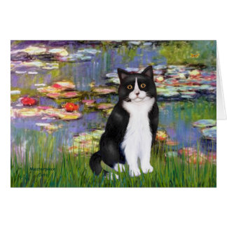Lilies 2 - Black and White Cat Card