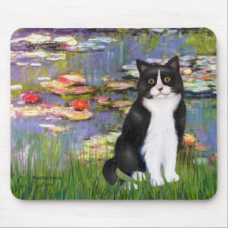 Lilies 2 - Black and White Cat Mouse Pad