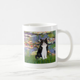 Lilies 2 - Black and White Cat Mugs