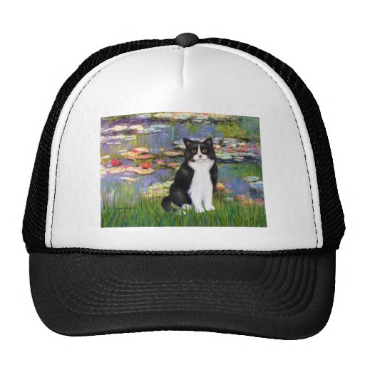Lilies 2 - Black and White Cat Trucker Hat