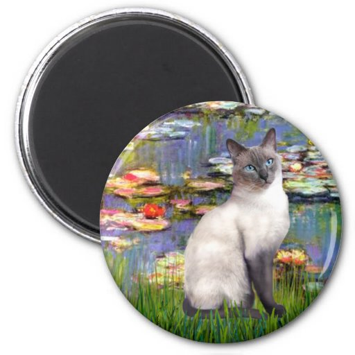 Lilies 2 - Blue Point Siamese cat 2 Inch Round Magnet