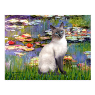 Lilies 2 - Blue Point Siamese cat Postcard