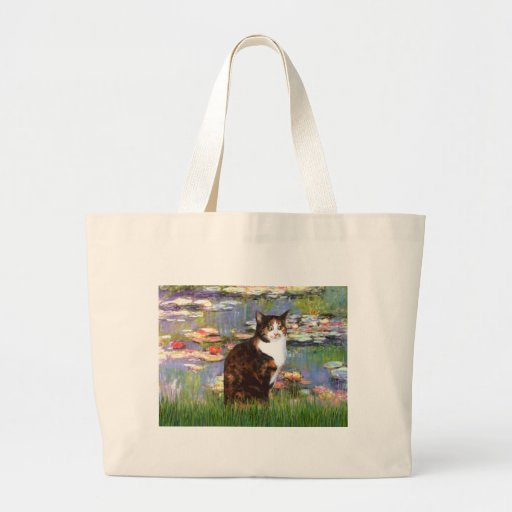 Lilies 2 - Calico cat Canvas Bags